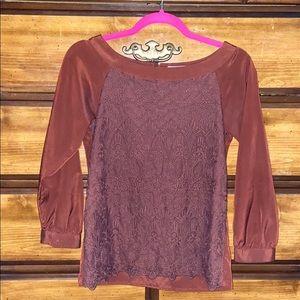 H&M BRAND NEW Brown/Rust Silk Long Sleeved Blouse